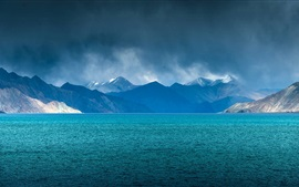 Preview wallpaper India, lake, mountains, clouds, blue
