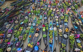 Preview wallpaper Indonesia, floating market, trade, river, boats