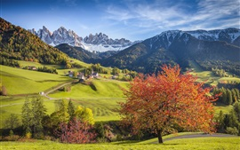 Preview wallpaper Italy, Alps, beautiful scenery, forest, trees, mountains, village, autumn