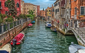 Italy, Venice, river, boats, houses, city