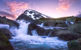 Preview wallpaper Jotunheimen, mountain, river, stones, sunset, Norway