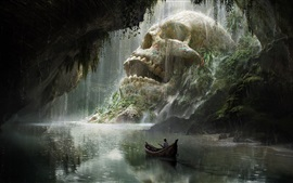 Preview wallpaper Journey, skull, boat, river, art fantasy