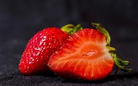 미리보기 배경 화면 달콤한 딸기, 검정색 배경