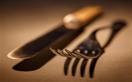 Preview wallpaper Knife, fork, macro photography