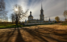 Kostroma, Russia, temple, trees, sunset
