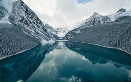 Preview wallpaper Lake, mountains, forest, snow, winter