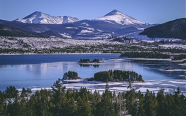 Preview wallpaper Lake, trees, island, mountains, snow, winter, USA