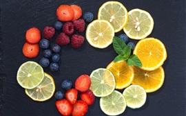 Preview wallpaper Lemon, strawberry, blueberry, slice, fruit