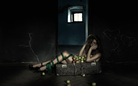 Preview wallpaper Lonely girl in suitcase, apples, room