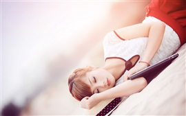 Preview wallpaper Lovely Asian girl sleep, book, beach