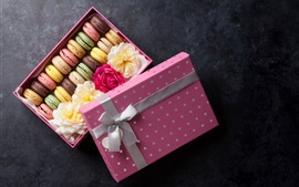 Preview wallpaper Macaron, colorful, box, gift, sweet food, flowers