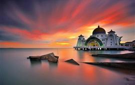 Malasia, Malacca, mar, puesta del sol, estrecho mezquita