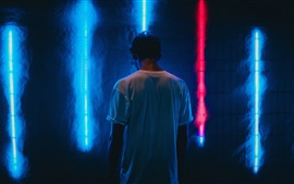 Man back view, neon