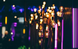미리보기 배경 화면 많은 램프 조명, 밤, 색상
