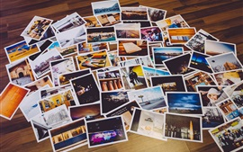 Many photos on floor