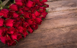 Preview wallpaper Many red roses, flowers, wood