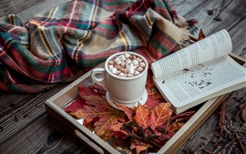 Preview wallpaper Marshmallow, drinks, cocoa, book, maple leaves