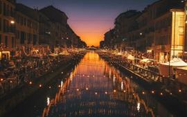 Милан, Италия, ночь, река, огни, город