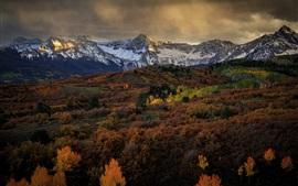 Montanhas, árvores, nuvens, crepúsculo, outono