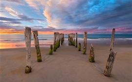 New Zealand, beach, sea, clouds, pier