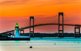 Newport, bridge, lights, lighthouse, dusk, Rhode Island, USA