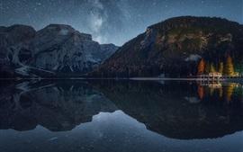 Noite, montanhas, lago, floresta, cais, estrelado