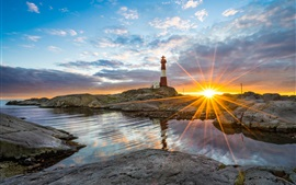 Preview wallpaper Norway, Rogaland, rocks, sea, lighthouse, sunset