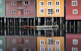 Preview wallpaper Norway, Trondheim, boats, wood houses, lake, water reflection