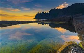 Norway, sea, mountains, sunset, dusk