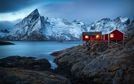 Норвегия, деревня, дома, фьорд, горы, зима, снег, огни