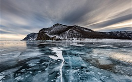 Preview wallpaper Olkhon Island, lake, ice, trees, winter, Russia