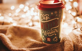 Preview wallpaper One cup drinks, cloth, glare lights