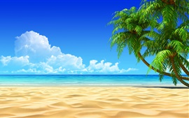Preview wallpaper Palm trees, beach, sea, clouds, tropic