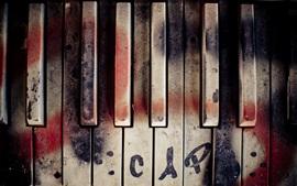 壁紙のプレビュー ピアノ、キー、落書き
