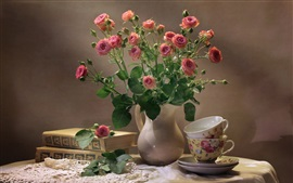 Preview wallpaper Pink roses, tea cups, books, still life
