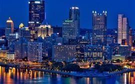 Питтсбург, Пенсильвания, США, небоскребы, город, ночь, огни