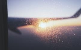 Plano, asa, janela, luz brilhante