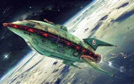 Preview wallpaper Planet Express, spaceship, art picture