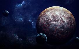 Preview wallpaper Planets, lava, sci-fi, space