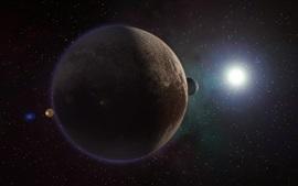 Plutón, planeta, sol, espacio