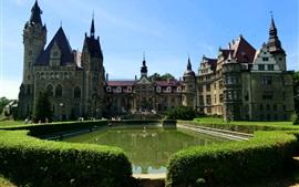 Polônia, Castelo de Moszna, lagoa, arbustos