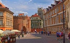 Preview wallpaper Poland, Warsaw, Barbican, street, city, old town, people, street