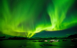 Radiance sky, northern lights, night, green