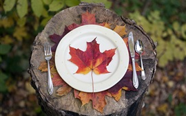 Preview wallpaper Red maple leaf, plates, knife, fork