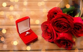 Red roses, diamond ring, romantic