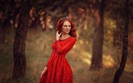 Preview wallpaper Red skirt girl, forest