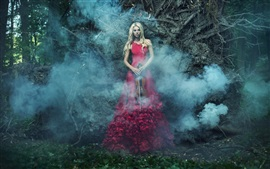 Preview wallpaper Red skirt girl, violin, smoke, forest