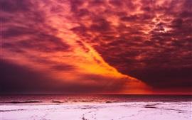 Красное небо, облака, закат, море