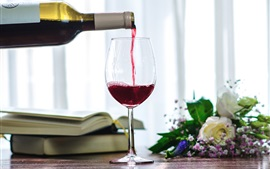 Preview wallpaper Red wine, glass cup, books, flowers