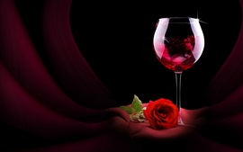 Preview wallpaper Red wine, rose, romantic